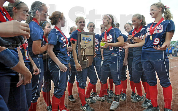 Runner-up: North players finally smile after alot of tears after Tuesday's 3-1 loss to Hamilton Southeastern.