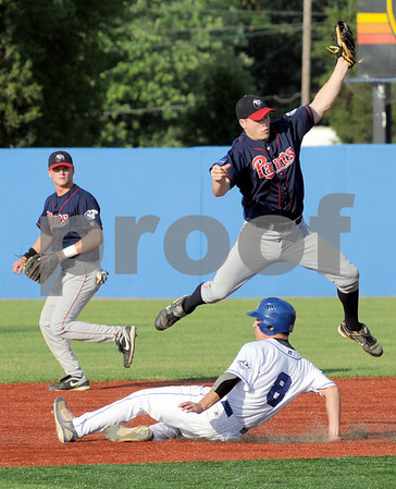 Safe: Nolan Early of Terre Haute Rex makes it safely into second base on a high throw against Chillicothe Tuesday evening at Bob Warn Field.