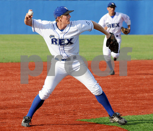For the out: Rex third baseman #19, Alex Guthrie fires a fielded ball to first base for the out during Tuesday's game.