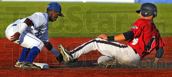 Little bit of sole: Rex second baseman Derick Daniel tags Bomber base runner DC Legg for an out as he was attempting to steal.