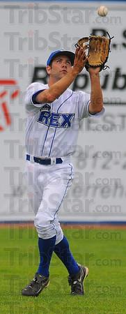Good glove: Rex left fielder Cole Vicars gloves a long flyball.