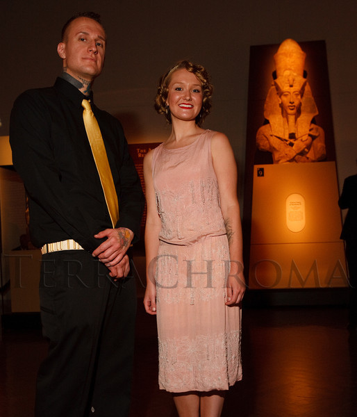 (Denver, Colorado, June 25, 2010)<br /> Kristian Navant with Kristie Hegberg, an ancient Egypt enthusiast wearing a vintage 1920's dress.  Flappers and Pharaohs Bash at the Denver Art Museum in Denver, Colorado, on Friday, June 25, 2010.<br /> STEVE PETERSON