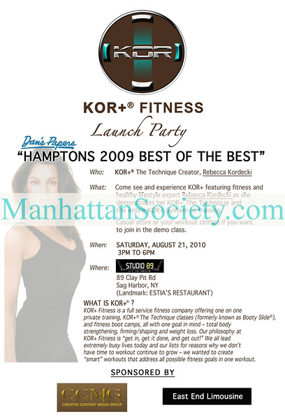 SAG HARBOR-AUGUST 21:   KOR+ Fitness /Booty Slide Launch Party Featuring Rebecca Kordecki on Saturday, August 21, 2010 at Studio 89, 89 Clay Pit Road, Sag Harbor, New York   (PHOTO CREDIT: ©Manhattan Society.com 2010 by  Christopher London)