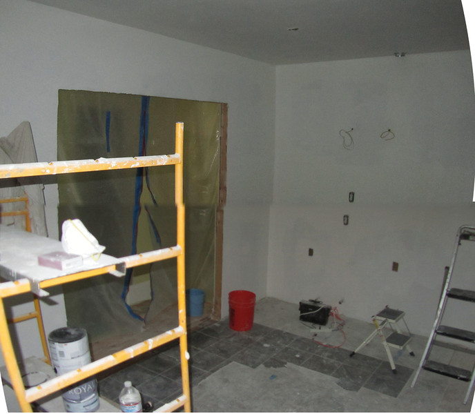 005 dry wall up facing north and dining area