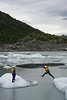 Water Rescue Team members explore the icebergs around the foot of the Knik Glacier.