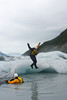 Jess Young takes a leap from an iceberg into water that can't get any colder.