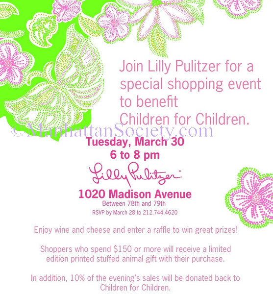 NEW YORK-MARCH 30:  Committee Members and guests attend Shopping Event Hosted by LILLY PULITZER to Benefit CHILDREN FOR CHILDREN & Celebrate Upcoming Gala Honoring Katie Couric on Tuesday, March 30, 2010  at  Lilly Pulitzer Store, 1020 Madison Avenue; New York, NY 10075  (PHOTO CREDIT:  ©Manhattan Society.com 2010 by Christopher London)