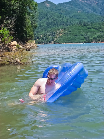 Robert had a little trouble getting into his floaty