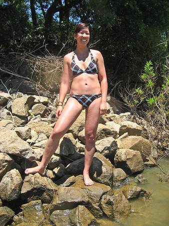Kim is ready for a dip in the warm water!