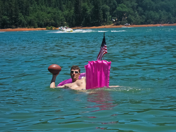 We broke out the football and tossed it aroudn the water -- it's pretty damn hard to throw it well from a floaty raft