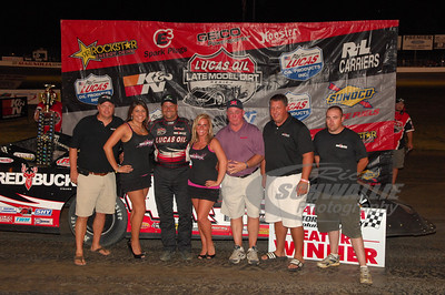 Earl Pearson, Jr. and Red Buck Cigars reps in Victory Lane @ Magnolia Motor Speedway