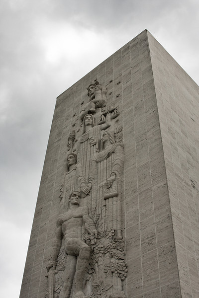 A towering monument looks down on the memorial at the Manila American Cemetery and Memorial.