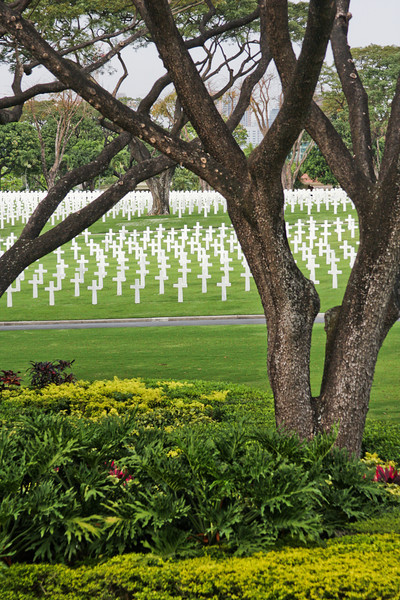 Gardens spring up among the crosses at the Manila American Cemetery and Memorial