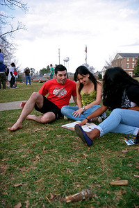 Students around campus on a warmer day in March.