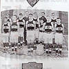 History: The 1916 Robuinson Illinois basketball team and their plaques they won. The image is a page from their year book.