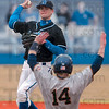 Tribune-Star/Joseph C. Garza<br /> Going for the double play: Indiana State's Jordan Pearson throws to first plate after he forced out Tennessee-Martin's Cory Stooksbury (14) during the Sycamores' game against the Skyhawks Sunday at Bob Warn Field.