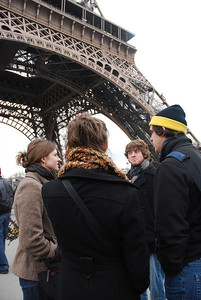 Sarah Steadman, Aaron Goforth, and Taylor Doolittle stand below the Eiffel Tower waiting to take the tour up to the top to enjoy the view.