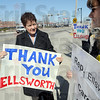 Thank you: Bianca Gambill talks with fellow rallier Denise Marie Sobieski Friday afternoon as they show their support for Brad Ellsworth's vote for health care.