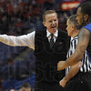 You didn't see that, ref?: Indiana State head coach Kevin McKenna argues his viewpoint to the official during the Sycamores' game against Illlinois State Friday in St. Louis.