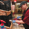 Tribune-Star/Joseph C. Garza<br /> On the job: Terre Haute North student, Bryce Hiner, works in the Union Hospital cafeteria Friday through the Project SEARCH program.