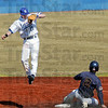 High ball: Indiana State's #15, shortstop Ben Ferrell drops back to earth after chasing a high throw on a steal by Tennessee Martins #2, Trey Karlan Saturday afternoon during the firt game of a double-header.
