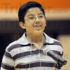 Champion: Honey Creek student Sabin Karki finally smiles as he realizes he just won the spelling bee competition Saturday afternoon at Sarah Scott.