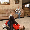 All boy: Dalton Royal, in black tussels with his step-brother Cole Berry under the supervision of his mom Kathryn.
