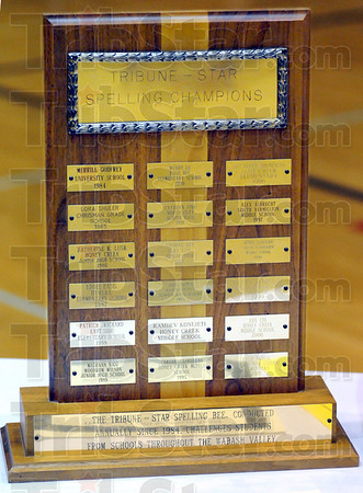 Trophy: Detail photo of the Tribune-Star Spelling Champions trophy.