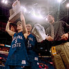 Tribune-Star file photo/Joseph C. Garza<br /> Champions: Indiana State seniors (from left) Michael Menser, Matt Renn and Brian Giesen enjoy the thrill of victory as Menser hoists the MVC Tournament trophy up for all to see Monday, March 5, 2001 in St. Louis.
