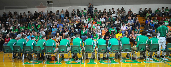 Fan base: The North Central High Schoool basketball fans cheer their tem at a Tuesday night pep rally.
