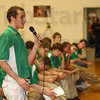 Thanks: North Central senior Bobby Swaby takes his time on the microphone during the school's pep rally Tuesday night.