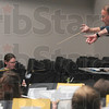 Tribune-Star/Joseph C. Garza<br /> The right direction: Indiana State University music professor John Boyd has directed bands and taught students at the university for 21 years like he did Tuesday in the ISU Center for Performing and Fine Arts.
