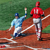 Score: Indiana State's #19, Robby Ort scores on a bunt down the third base line during Tuesday's game against Austin Peay.