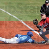 Back: Indiana State's #3, Kyle Burmam dives back to first base during a pick-off attempt Tuesday afternoon.