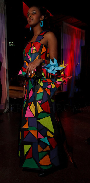 "(Denver, Colorado, March 18, 2010)<br /> Meseret Fitsum models ""Kaleidoscope,"" an outfit designed by DAVA 2.  Sixth Annual Art Directors Club Denver Paper Fashion Show at Mile High Station in Denver, Colorado, on Thursday, March 18, 2010.<br /> STEVE PETERSON"