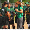 Pep talk: West Vigo head softball coach Cherish Easton talks with her infield in the early, rough going against Edgwood Thursday evening. The Vikings lost 10-3.