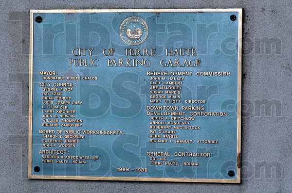 Plaque: Detail of plaque erected on the city-owned parking garage.