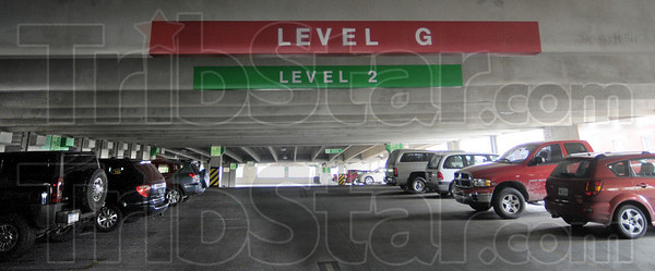 Second level: The second level of the new parking facility at 8th and Cherry Streets is sparsley populated Thursday afternoon.