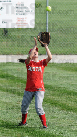 I got it: South's #6, Ciara Hall catches a long fly ball for an out during game action against LInton Thursday evening.