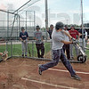Caged: Andrew Gauer makes contact during batting practice Thursday afternoon.
