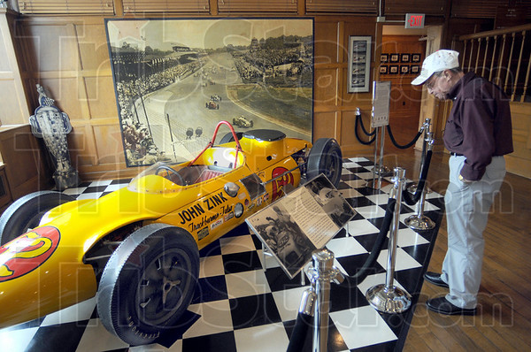 500 fan: Joe Claretto reads the information on the John Zink Trackburner-Turbo display at the Hulman Company Museum Wednesday afternoon. He'll be attending his 55th consecutive Indy 500 this month.
