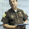 Impact: Sheriff Jon Marvel talks about the impact of meth use on his medical budget at the Vigo County Jail during Thursday's meth summit.