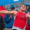 His aim was true: Linton's Stefan Sparks releases the discus during the discus throw competition of the boys track sectional Thursday at Terre Haute North. Sparks won the competition.