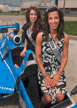 Tribune-Star/Joseph C. Garza<br /> Local royalty: Terre Haute natives Carolyne Holcomb and Brittany Dorsett are Indianapolis 500 Festival princesses and made an appearance at Larry Paul tanning Thursday.