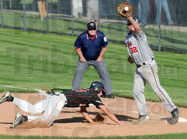 Back: Souths' #25, Logan Buske dives back to first base safely during game action against Terre Haute North Thursday afternoon. North's #32, David Knight reaches for the incoming throw.