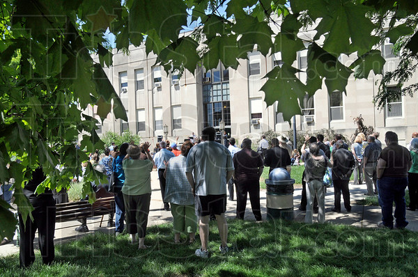 Prayer: About 100 people attended the National Day of Prayer event at the Terre Haute City Hall Thursday afternoon.
