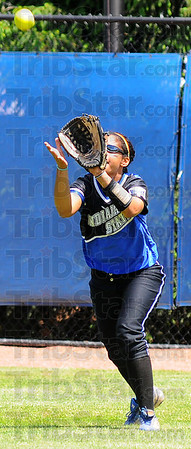 Fly out: ISU junior center fielder Stephanie Jonson, a Northview product, gloves a flyball in the Sycamores' game with Wichita State Sunday afternoon.
