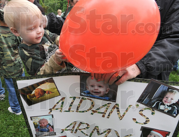 Aidan's Army: Nineteen-month-old Aidan Mitchell had about 30 supporters in attendance at the Cystic Fiberosis walk at Deming Park Sunday afternoon.