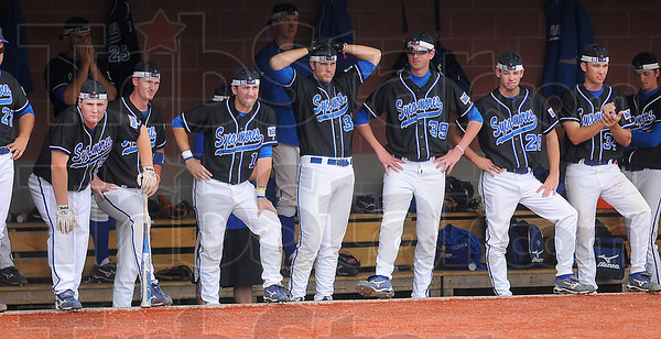 Rally falls short: The Sycamore dugout does all it can to support the players on the filed, including donning their rally caps. The home team dropped the last game of their series with Missouori State 5-3.