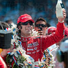 200 laps then milk: 2010 Indianapolis 500 Mile Race winner Dario Franchitti hoists the winner's bottle of milk before taking a drink as part of one of the traditions of the race Sunday in Indianapolis.